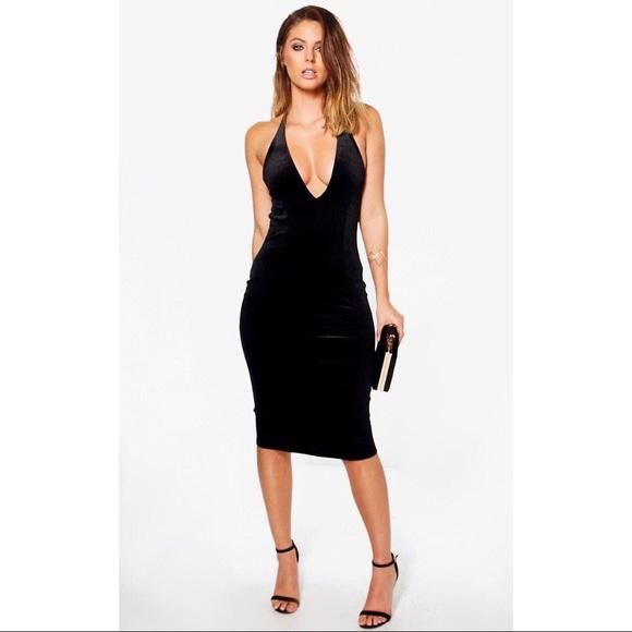 Boohoo Dresses Velvet Plunge Haltertop Dress Black Poshmark